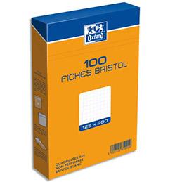 Boîte de 100 fiches bristol Oxford - 12,5 x 20 cm - 5x5 - blanc - Réf : 235020H (photo)