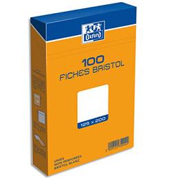 Boîte de 100 fiches bristol Oxford - 125 x 200 mm - uni blanc - Réf : 235020H (photo)