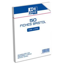 Sachet de 50 fiches bristol Oxford - 14,8 x 21 cm - 5x5 - blanc - Réf : 116120H
