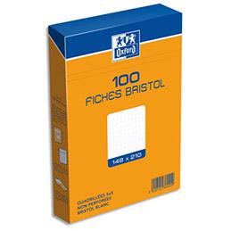 Boîte de 100 fiches bristol Oxford - 14,8 x 21 cm (A5) - 5 x 5 - blanc - Réf : 236020H (photo)