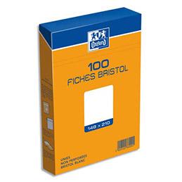 Boîte de 100 fiches Bristol Oxford - 14,8 x21 cm (A5) - uni blanc - Réf : 236000H (photo)
