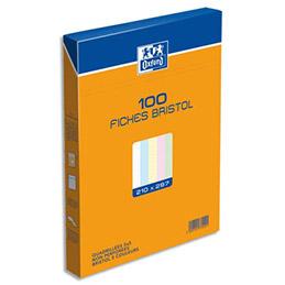 Boîte de 100 fiches bristol Oxford - 21 x 29,7 cm (A4) - 5x5 - coloris assortis - Réf : 237029H (photo)