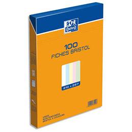 Boîte de 100 fiches bristol Oxford - 210 x297 mm (A4) - uni assortis - Réf : 237009H (photo)