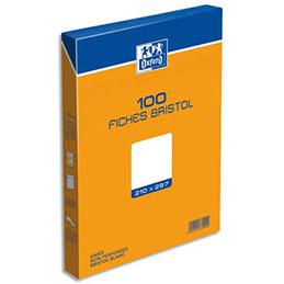 Boîte de 100 fiches bristol Oxford - 21 x 29,7 cm - uni blanc - Réf : 237020H (photo)