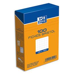 Boîte de 100 fiches bristol Oxford - 7,5 x 12,5 cm - 5x5 -blanc - Réf : 232020H (photo)