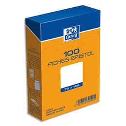 Boîte de 100 fiches bristol Oxford - 75 x 125 mm (A7) - uni blanc - Réf : 23200H (photo)