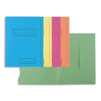 Chemise 2 rabats avec cadre d'indexage Exacompta Super 250 - carte 210 g - coloris assortis - paquet de 50 (photo)