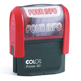 Tampon à formule Colop : POUR INFO - encrage automatique - empreinte rouge 38 x 14 mm
