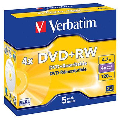 DVD+RW vierge Verbatim - réinscriptible - 4,7 Go - 120 min - vitesse 4 X - lot de 5 (photo)