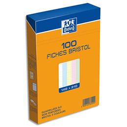 Boîte de 100 fiches bristol Oxford - 14,8 x 21 cm (A5) - 5x5 - coloris assortis - Réf : 236029H (photo)