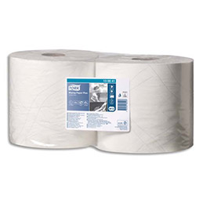 Bobine d'essuyage Tork Paper Plus blanche - 750 formats - 2 plis - 23,5 x 34 cm (photo)