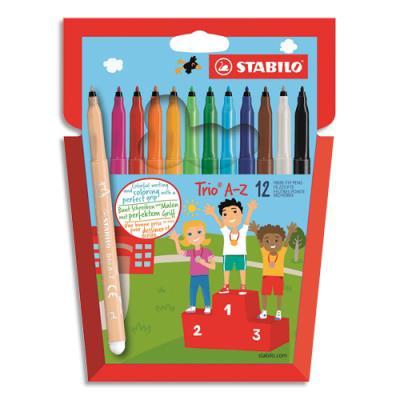 Etui de 12 feutres de coloriage Stabilo Trio - pointe moyenne - 10 coloris classiques + 2 fluos (photo)