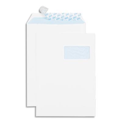 Boîte de 250 pochettes auto-adhésives GPV - velin blanc - 90g - format 229x324 - C4 - fenêtre 50x100 (photo)