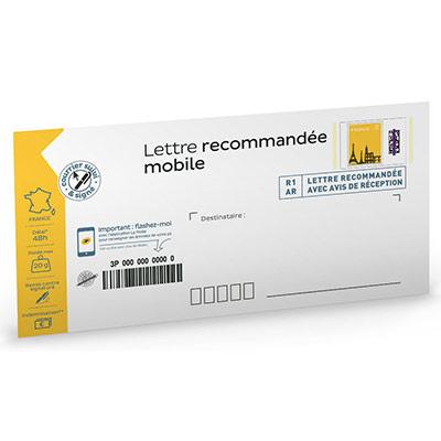Lettre recommandée mobile 110 x 220 mm - 20 g - soumis à conditions - paquet 5 unités (photo)