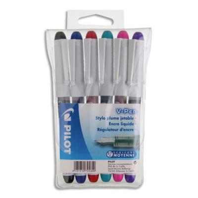 Pochette de 6 stylos à plume jetables Pilot V-Pen - 6 couleurs d'encre (photo)
