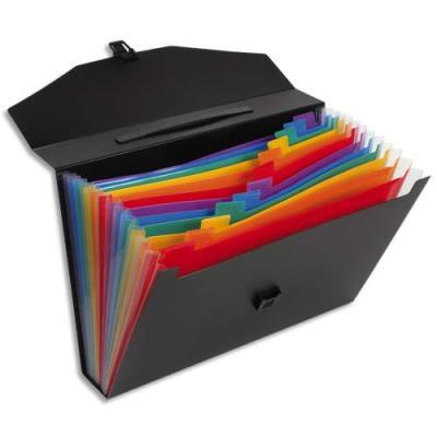 Trieur malette Rainbow Class Viquel - 13 compartiments - polypropylène 10/10e - noir intérieur multicolore