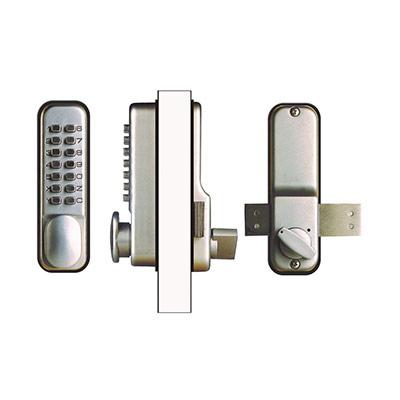 Verrou de porte à combinaison mécanique - clavier 14 touches - chromé (photo)