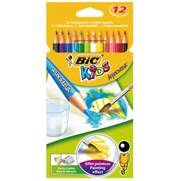 Pochette plastique de 12 crayons de couleur Aquacouleurs Bic - mine aquarellable - coloris assortis (photo)