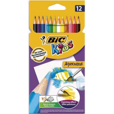 Pochette plastique de 12 crayons de couleur Aquacouleurs Bic - mine aquarellable - coloris assortis