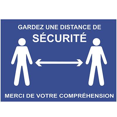 Panneau Gardez une distance de sécurité autocollant adhésif bleu (photo)
