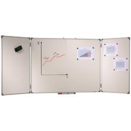 Tableau triptyque blanc émaillé Vanerum - 100x400 cm (ouvert)