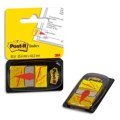 Carte de 50 index motif point signature 25 x 44 cm jaune