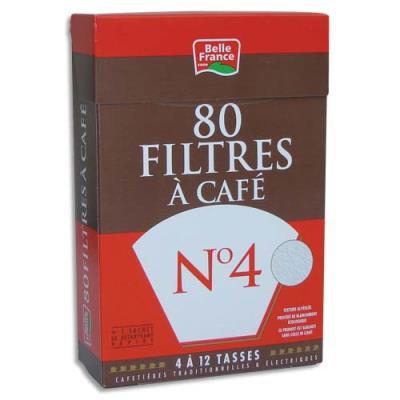 Filtre à café n°4 + 1 sachet de détartrant Belle France 3344 - Boite de 80 filtres (photo)