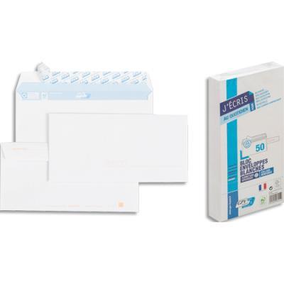 Enveloppes précasées 110 x 220 GPV - blanches - 90 g - auto-adhésive - bloc de 50
