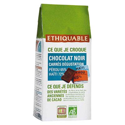 Carrés dégustation de chocolat noir Napolitains Haiti Pérou bio - paquet de 100g (photo)