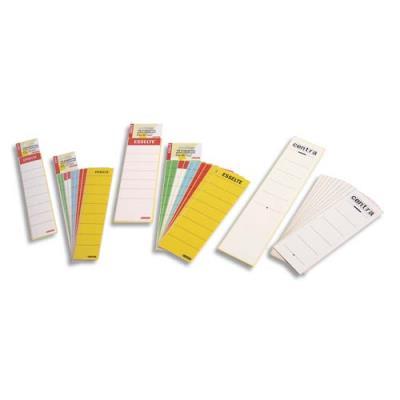 Etiquettes adhésives Esselte - pour classeur - à levier à dos étroit - coloris blanc - sachet de 10