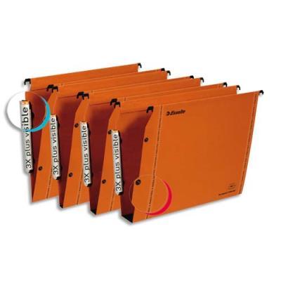 Dossiers suspendus Esselte LMG - pour armoire - kraft orange 240g - fond 15 - bouton pression - Paquet de 25