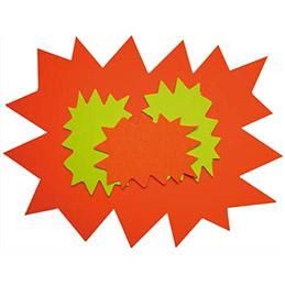 Carton - fluo - effaçable à sec - coloris jaune/orange - forme éclaté - 16 x 24 cm - paquet de 10 (photo)