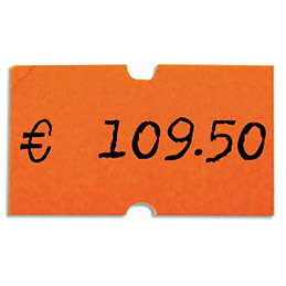 Rouleau de 1000 étiquettes oranges fluos 21 x 12 mm pour pinces 151991-101418 - pack de 6