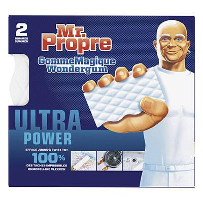 Eponge gomme Magique Mr Propre Wondergum Extra puissante blanches - lot de 2 (photo)