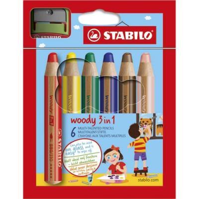 Etui de 6 crayons de couleurs Stabilo Woody - pointe extra large aquarellable - coloris assortis