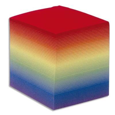 Bloc cube arc en ciel Quo Vadis - 9 x 9 x 9 cm - 700 feuilles 90g encollées - label PEFC (photo)
