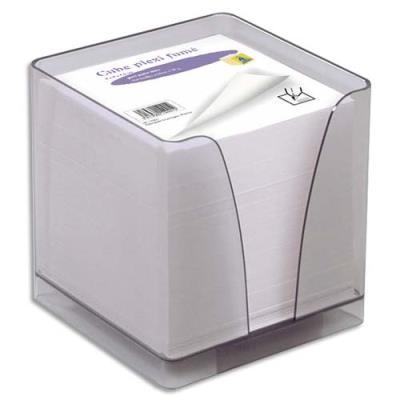 Boîtier plexi fumé + recharge bloc blanc 580 feuilles 90 g - format 9 x 9 x 9 cm (photo)