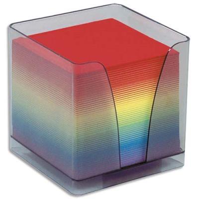 Boîtier plexi fumé + recharge bloc couleur 580 feuilles 90 g - format 9 x 9 x 9 cm (photo)