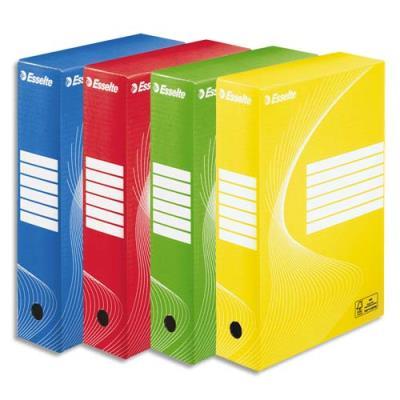 Boîte à archives Esselte Boxy en carton ondulé - dos de 8 cm - coloris assortis - lot de 10