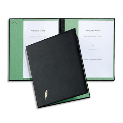 Parapheur Emey Double Clip de maintien - 1 compartiment - couverture noire ouatinée intérieur buvard vert (photo)