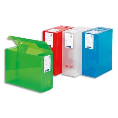 Boite de classementMaxidoc en polypropylène 12/10ème - dos 12 cm - coloris assortis translucide