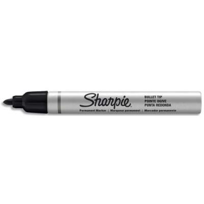 Marqueur permanent Sharpie - pointe ogive moyenne - corps métal - noir
