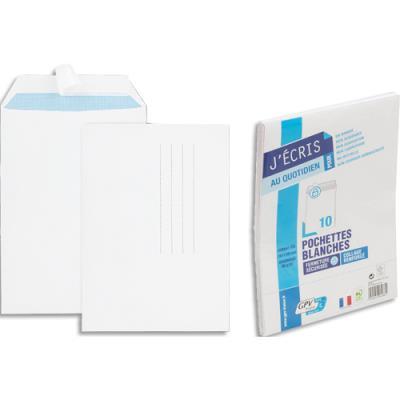 Pochettes 162x229 GPV - blanches - auto-adhésives - 90 g - paquet de 10 (photo)
