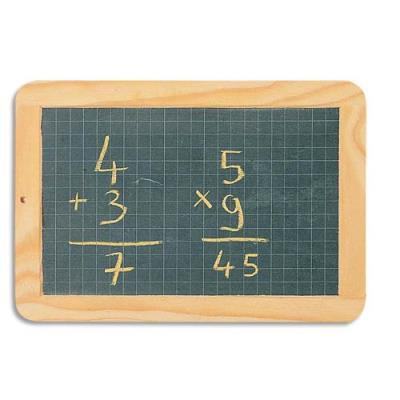 Ardoise naturelle avec cadre en bois face quadrillé petits carreaux - 26 x 19 cm