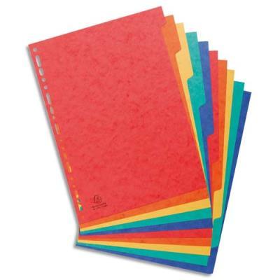 Intercalaires touches neutres Exacompta - carte 225 g - A4 - 10 positions - coloris assortis