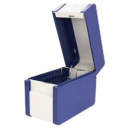 Boîte à fiche Provence Val Rex - format A6 portrait H148 x P105 mm - plastique/métal - bleu (photo)