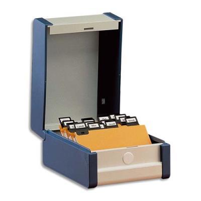 Boîte à fiche Provence Val-Rex - 210 x 135 mm - plastique/métal - capacité 500 fiches - bleu (photo)