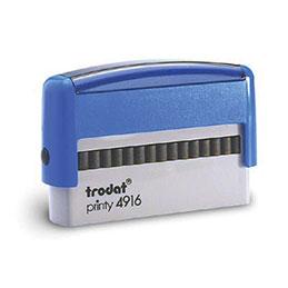 Tampon Trodat 4916 personnalisable - utilisation bureau - format 70x10 mm - bleu