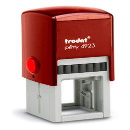 Tampon Trodat 4923 personnalisable - utilisation bureau - format 30x30 mm - rouge