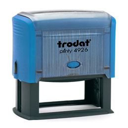Tampon Trodat 4926 personnalisable - utilisation bureau - format 75X38 mm - bleu